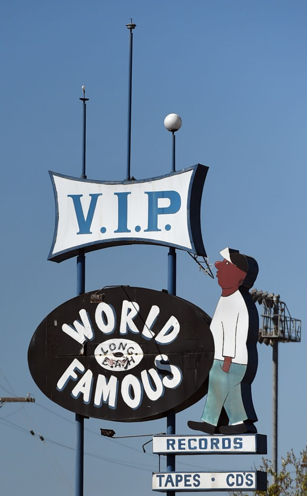 "The ""World Famous VIP Records"" sign.Long Beach March 16, 2017. Photo by Brittany Murray, Press Telegram/SCNG"