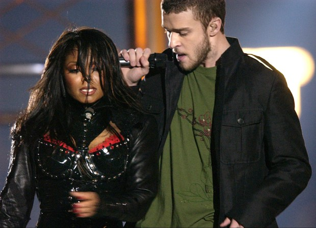 "On Feb. 1, 2004, Justin Timberlake and Janet Jackson are seen during their performance prior to the infamous ""wardrobe malfunction"" during the half time performance at Super Bowl XXXVIII in Houston. Timberlake will headline the Super Bowl halftime show Feb. 4, 2018, in Minnesota. (AP Photo/David Phillip)"