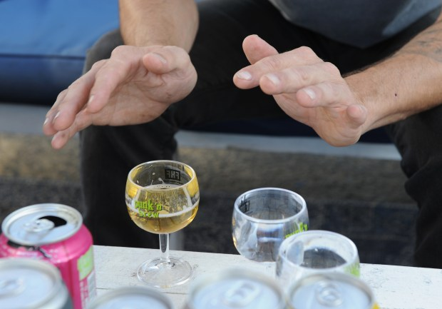 Beer tasting during the 'punk 'n brew' Craft Beer & Music Festival in Huntington Beach on Saturday, October 28, 2017. (Photo by Kelly A. Swift, Contributing Photographer)