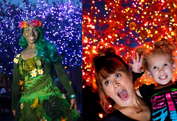 Chelsey Yadao of Hawaii, left, (Te Fiti) is set against purple tree lights along Cars Land at Disney California Adventure on Sun., Oct. 29 while Gina Parks of Rancho Cucamonga and daughter Henley, 5, are set against Disneyland's orange Halloween Tree at Mickey's Halloween Party on Tues., Oct. 24.(Photo by Cindy Yamanaka, Orange County Register/SCNG)