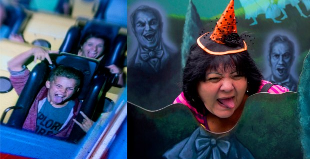 Screams so loud it makes tongues wag are common for both parks. California Screamin' cam captures Disney California Adventure goers and is a popular hangout for riders who take pictures of their picture. As park goers exit Disneyland's Haunted Mansion, two years ago, they pose with hitchhiking ghosts during Mickey's Halloween Party. (Photo by Cindy Yamanaka, Orange County Register/SCNG)