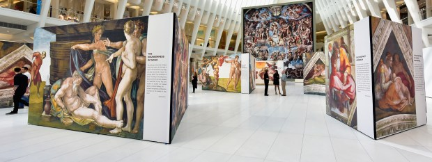 A general view of UP CLOSE: Michaelangelo's Sistine Chapel at The Oculus at Westfield World Trade Center on June 22, 2017 in New York City. (Photo by Eugene Gologursky/Getty Images for Westfield)