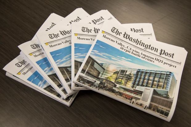 Moreno Valley produced a fake edition of The Washington Post as part of its attempt to attract Amazon's second headquarters. ORG XMIT: AkhZhrjYSiElzqkiCQCa