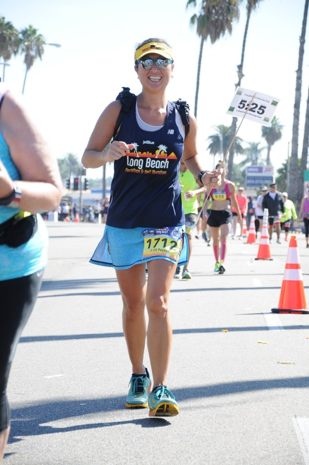 Cindy Carlson of Cerritos is a pace setter at this year's Long Beach Marathon.