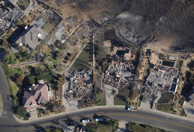 An aerial photo shows the aftermath of the Freeway Complex Fire in a Yorba Linda neighborhood. (Photo by Michael Goulding, Orange County Register/SCNG)