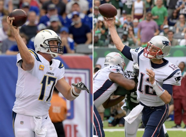 Chargers quarterback Philip Rivers, left, and Patriots quarterback Tom Brady enter Sunday's matchup as two of the hottest teams in the NFL.(AP Photo/Bill Kostroun, File)