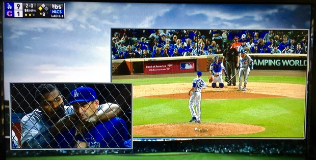 TBS used a picture-in-a-picture technique to show Yasiel Puig in the Dodgers dugout while live action was happening in the NLCS Game 5 in Chicago.