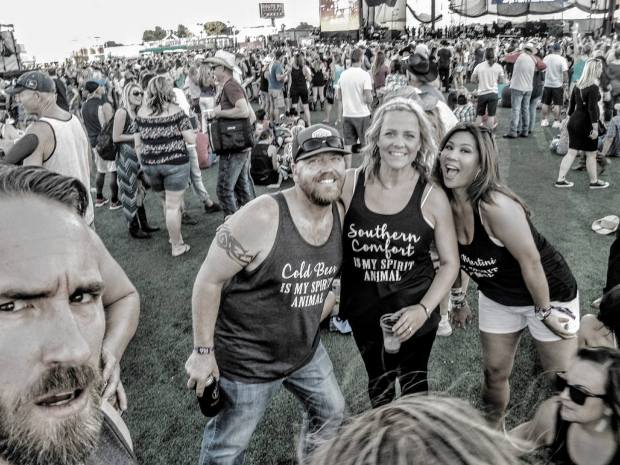Ryan Miller, left, posted a photo of Nicol Kimura, right, and friends at the Route 91 festival in Las Vegas on Sunday, before a gunman fired bullets into the crowd killing Kimura and at least 58 others. (Photo courtesy of Ryan Miller via Facebook)