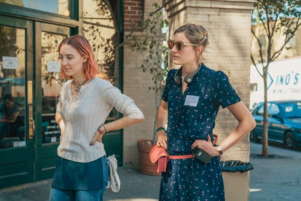 Saoirse Ronan and Greta Gerwig on the set of LADY BIRD; photo credit – Photo by Merie Wallace, courtesy of A24