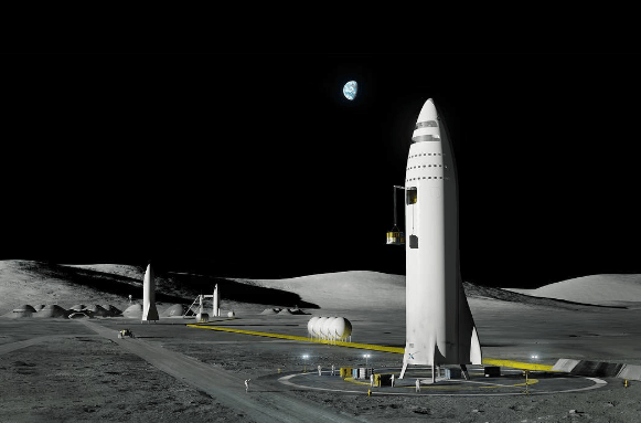 """SpaceX CEO Elon Musk presented this rendering of the BFR rocket on """"Moon Base Alpha."""""""