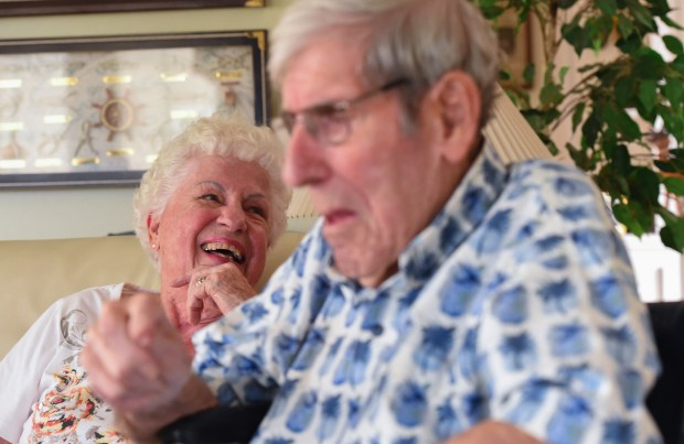 Verna and George Becker share a laugh as they talk about how they met at their home in Seal Beach on Monday, October 9, 2017. Both are in their 90s and will be celebrating their 75th wedding anniversary on October 18. (Photo by Scott Varley, Press-Telegram/SCNG)