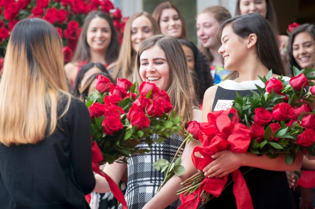 Julianne Lauenstein of La Ca–ada High School, center, reacts after her name was announced for the Royal Court of the 2018 Tournament of Roses at the Tournament House in Pasadena, Calif. Oct. 2, 2017.  (Photo by Leo Jarzomb, SGV Tribune/ SCNG)