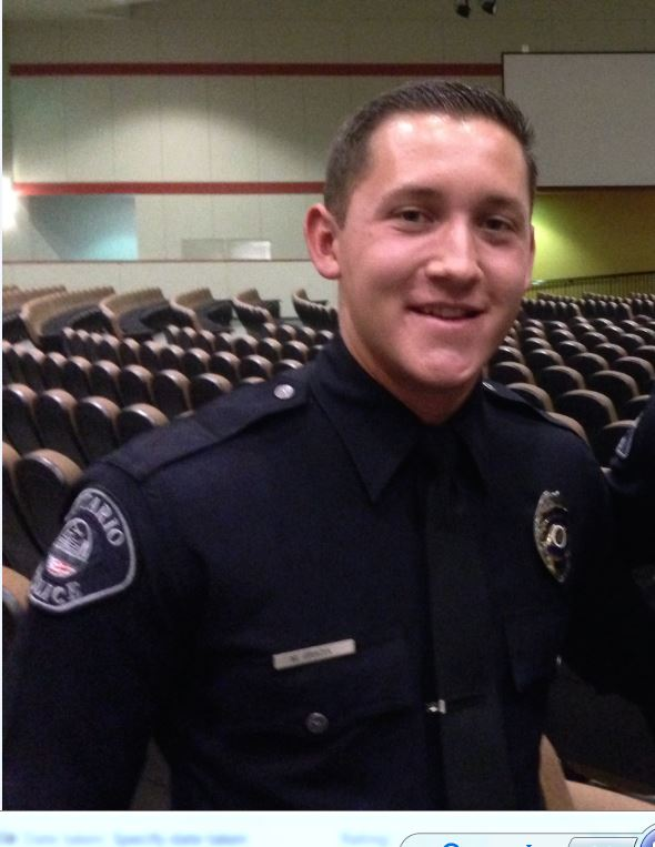 Ontario Police Department Officer Michael Gracia, 24, was shot in the head during the mass shooting in Las Vegas on Sunday, Oct. 1, 2017, and underwent surgery Monday, authorities said. (Photo courtesy of Ontario Police Department)