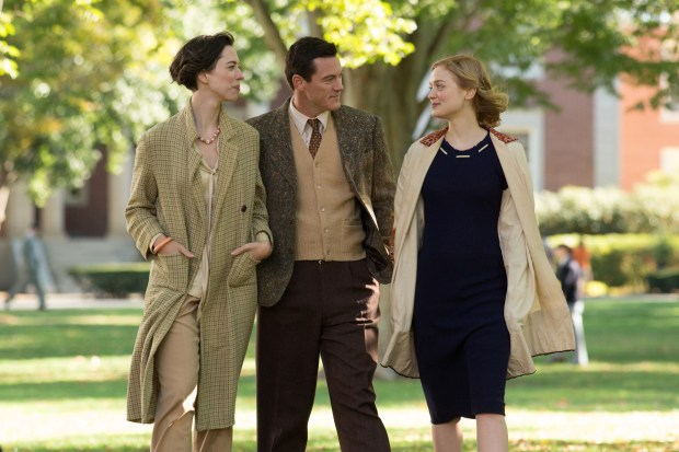 PMWW_00772_CROP(l-r.) Rebecca Hall stars as Elizabeth Marston, Luke Evans as Dr. William Marston and Bella Heathcote as Olive Byrne in PROFESSOR MARSTON AND THE WONDER WOMEN, an Annapurna Pictures release. Credit: Claire Folger / Annapurna Pictures