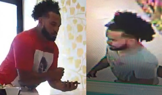 A man caught on camera is wanted for stealing wallets from two businesses and using victims' credit cards at retail stores.