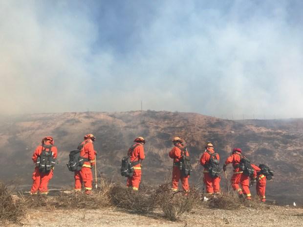 Firefighters work a blaze at a Jurupa Valley lumber yard near Van Buren Boulevard and Clay Street. Photo by Stan Lim, The Press-Enterprise/SCNG