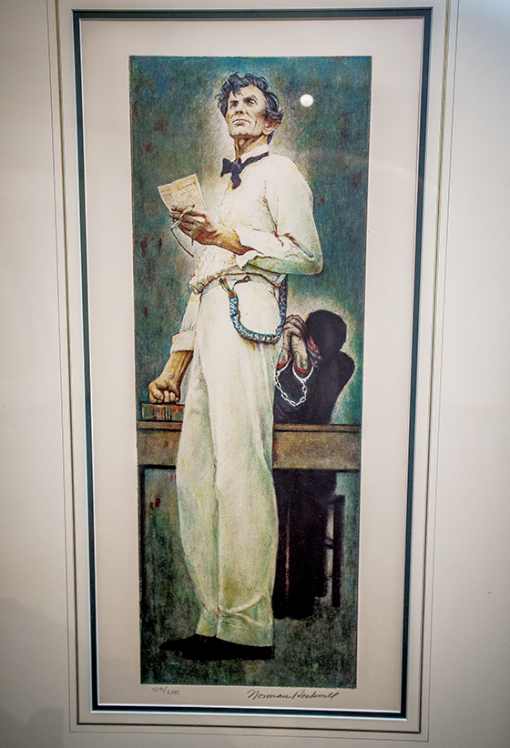 This Normal Rockwell lithograph called 'Lincoln for the Defense (1961) with Lincoln as a lawyer as a part of the historical collection at the Lincoln Shrine in Redlands, Sept. 8, 2017. (Eric Reed/For The Redlands Magazine/SCNG)