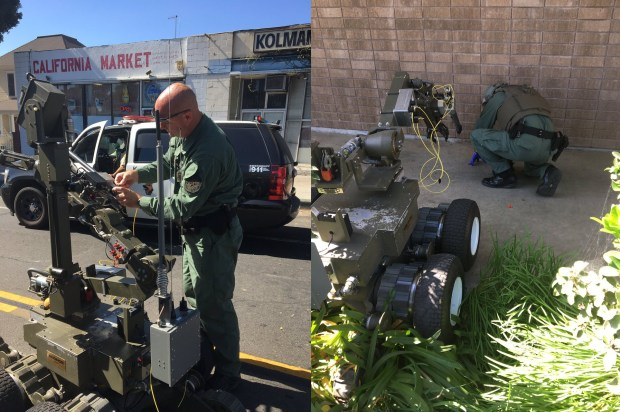 A Los Angeles County Sheriff's Department bomb squad examined a pipe with protruding wires found at the front door of a Whittier Planned Parenthood office on Saturday, Oct. 21, 2017. (Courtesy, Los Angeles County Sheriff's Department)