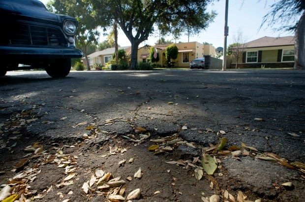 Los Angeles County plans to spend about $30 million in unincorporated South and West Whittier and Hacienda Heights for road repairs. Cracked asphalt on See Drive near Western Avenue in West Whittier is pictured October 9, 2017. (Photo by Leo Jarzomb, SGV Tribune/ SCNG)
