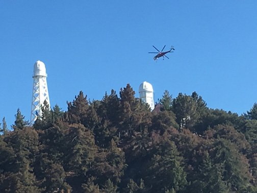 A helicopter works the Wilson fire on Day 3. (Courtesy Angeles National Forest)