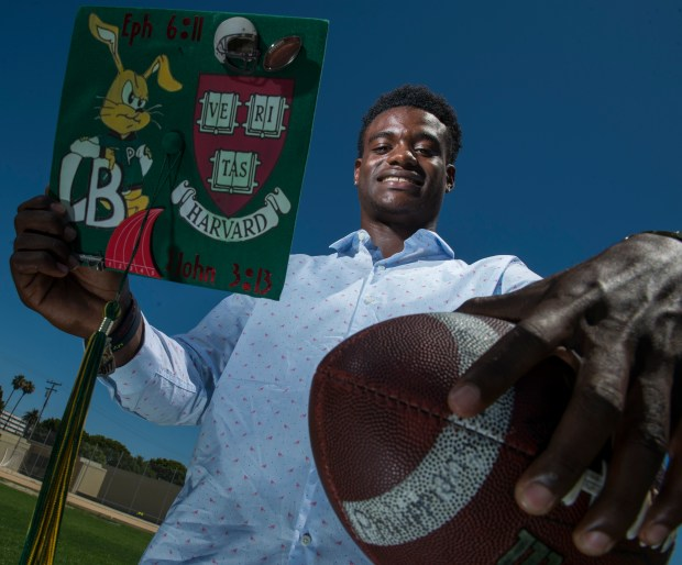 Aaron Shampklin, a Long Beach Poly football player has received a full scholarship to Harvard in Long Beach Monday, July 3, 2017. (Photo by Thomas R. Cordova, Press-Telegram/SCNG)