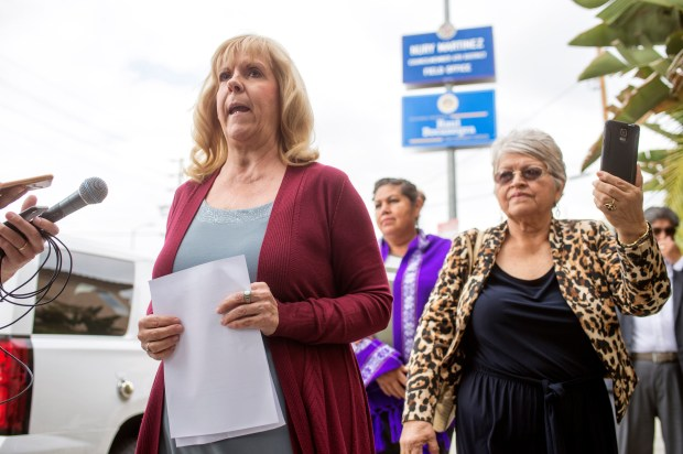 Activist Bonnie Corwin speaks to the media outside the Arleta district office of Assemblyman Raul Bocanegra, Wednesday, November 1, 2017. A group of women from his district is calling for his resignation after the revelation that he groped a woman at a Sacramento party nine years ago. (Photo by Hans Gutknecht, Los Angeles Daily News/SCNG)