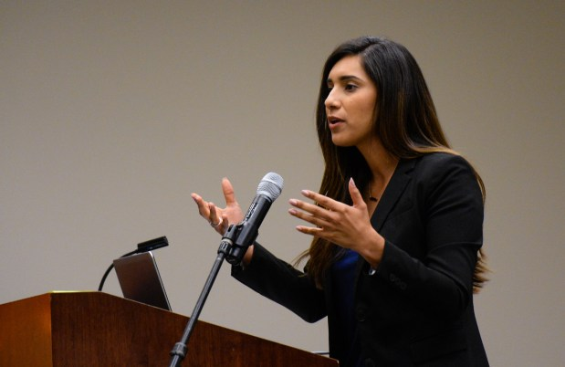 Assemblywoman Sabrina Cervantes, D-Riverside, speaks during the Persist 2017 conference at UC Riverside in Riverside, Calif. on Friday, Nov. 3, 2017. The conference encouraged women to get involved with politics. (Photo by Rachel Luna, The Press-Enterprise/SCNG)