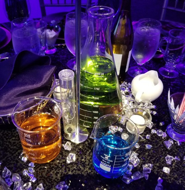 Even the centerpieces were packed with science at the Discovery Cube Los Angeles Inspire Gala, Saturday, Nov. 4. (Photo: Tom Bray/SCNG)