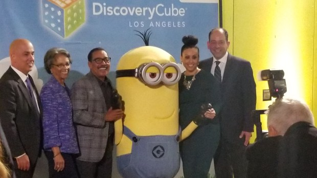 Honoree Herb Wesson and other dignitaries snag a photo with a Minion character at the Discovery Cube Los Angeles Inspire Gala, Saturday, Nov. 4. (Photo: Tom Bray/SCNG)