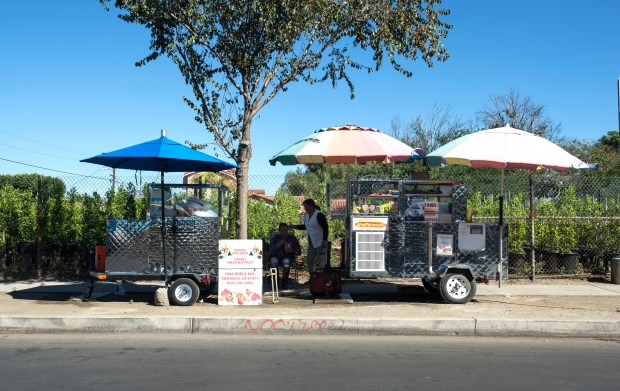 Bertha Batres, right, owner, waits for customers at her sidewalk vendor stand along Canterbury Avenue in Arleta on Wednesday, Nov. 8, 2017. (Photo by Ed Crisostomo, Los Angeles Daily News/SCNG)