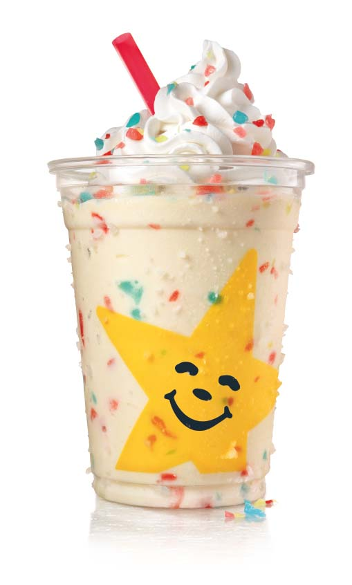 For a limited time, a select group of Carl's Jr. restaurants are selling Jolly Rancher Milkshakes.Each shake features hand-scooped vanilla ice cream blended with bits of cherry, green apple, and blue raspberry classic Jolly Rancher candy, crowned with whipped topping and even more Jolly Rancher pieces. (Courtesy Carl's Jr.