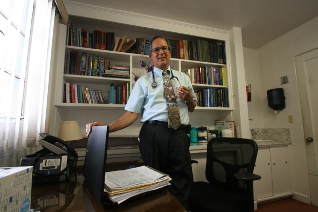 Dr. Ruben Brinckhaus says his small family practice in Fortuna, Calif., has been trying to wean patients off opiates. (Pauline Bartolone/California Healthline)