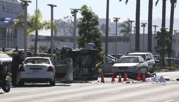 One person was killed and another was seriously injured Tuesday in a five-vehicle crash that shut down Hawthorne Blvd. at Del Amo Blvd. Chuck Bennett/Daily Breeze/SCNG