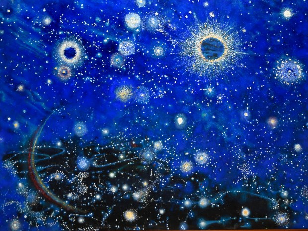 "One of Davies paintings. ""Heaven on Earth,' a solo exhibit by Richard Davies will be at McGinty's Gallery in Altadena Dec. 4-Jan. 9. Davies is a retired Caltech astrophysicist. Now in his 94, he paints pictures of things he has seen or might see in space. (Photo by Walt Mancini/Pasadena Star-News)"