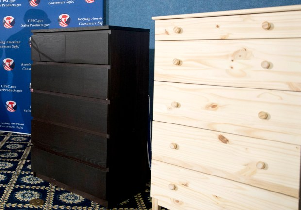 Ikea CEO Lars Petersson said the company wants to increase awareness of the recall campaign, first announced in June 2016, for several types of chest and dressers that can easily tip over if not properly anchored to a wall. (AP Photo/Carolyn Kaster, File)