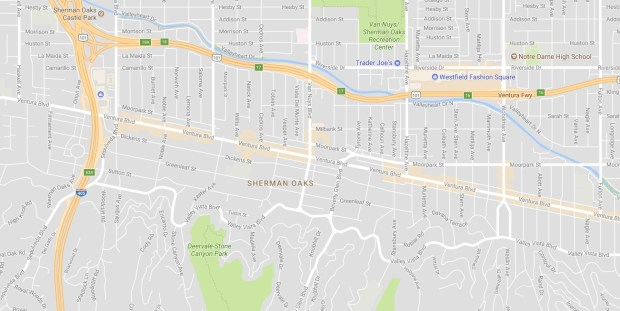 More than a dozen vehicles had their windows broken and were burglarized on Nov. 16, 2017, from the 13700 block to the 14900 block of Ventura Boulevard in Sherman Oaks. (Google Maps)