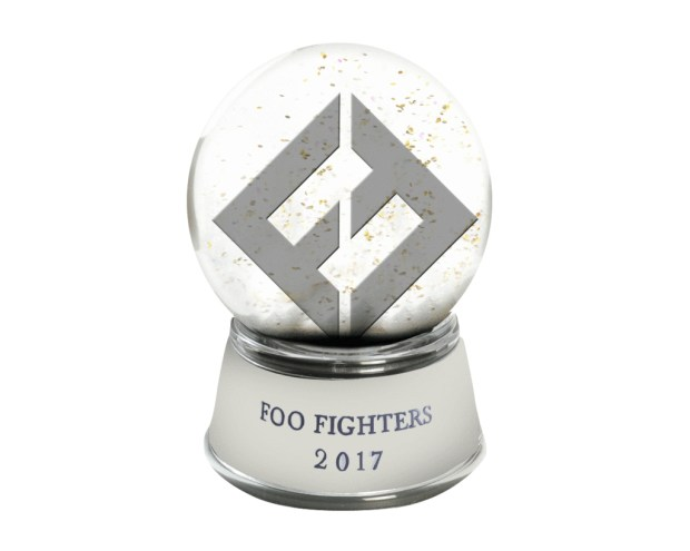 Rock fans can incorporate the Foo Fighters into their holiday decor with this limited-edition snow globe ($24.99) (Photo courtesy of foofighters.com)