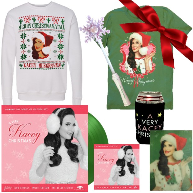 Country music singer-songwriter Kacey Musgraves is offering special holiday bundles that include beer koozies, animated postcards, LED Christmas wands, T-shirts and more. (Photo courtesy of kaceymusgraves.com)