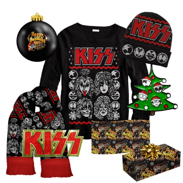 Rock band Kiss celebrates the holidays with a slew of seasonal merch. (Photo courtesy of shopkissonline.com)