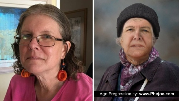 From left, Nancy Paulikas 2016 photo, next to new age-progressed photo released by family.