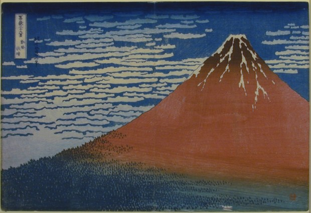 """""""South Wind, Clear Sky"""" by Katsushika Hokusai at the USC Pacific Asia Museum in Pasadena, which reopens Dec. 8. (Photo courtesy of the USC Pacific Asia Museum)."""