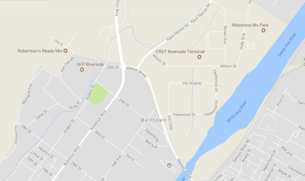 One person was killed and another was injured late Tuesday, Nov. 14, 2017, in a two-vehicle crash at Market Street and Rubidoux Boulevard in Jurupa Valley. (Google Maps)