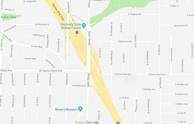 A four-vehicle crash early Tuesday, Nov. 21, 2017, on the 5 Freeway in Santa Ana injured several people and shut down all southbound lanes at Main Street. (Google Maps)