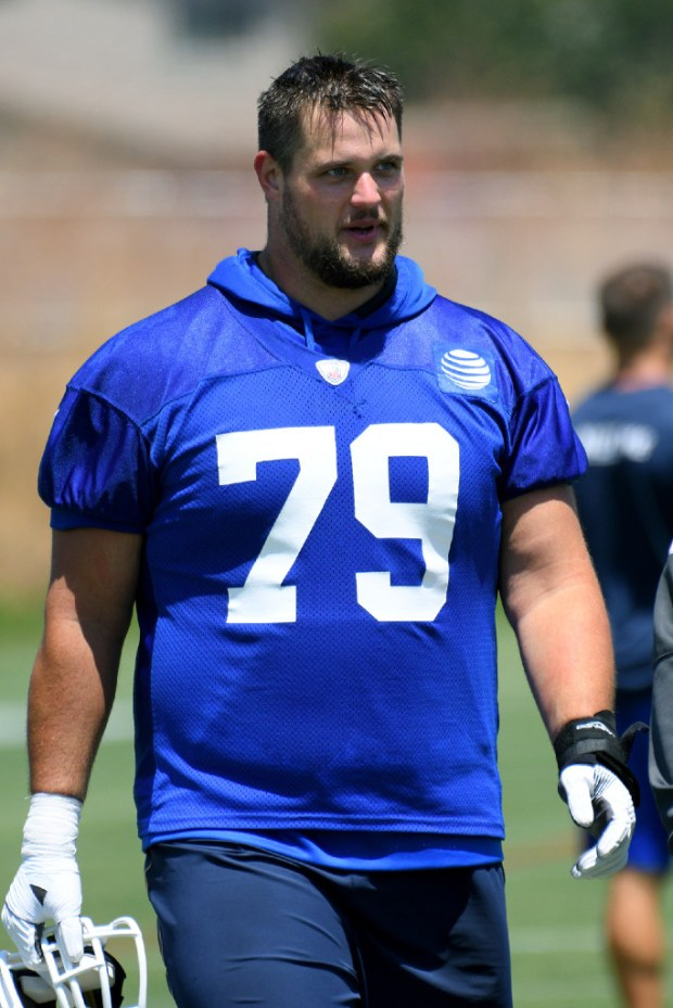Rams offensive lineman Rob Havenstein walks off the field following Organized Team Activities on June 5 in Thousand Oaks. (SCNG staff photo)