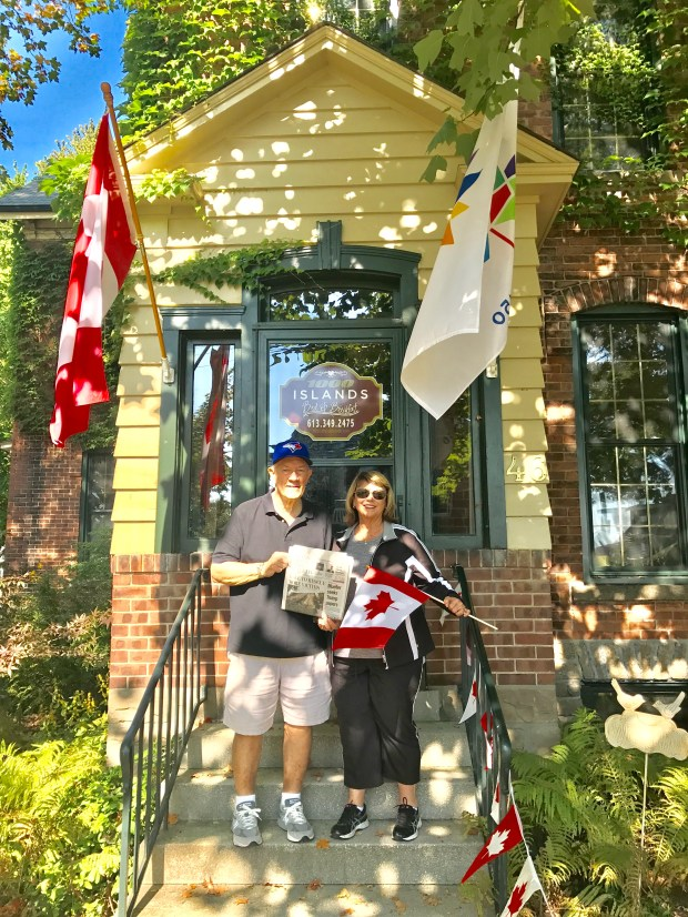 Tom and Vickee Duncan are standing on the steps of the 1,000 Islands Bed and Breakfast in Brockville, Canada, located on the St. Lawrence River. (Courtesy photo)