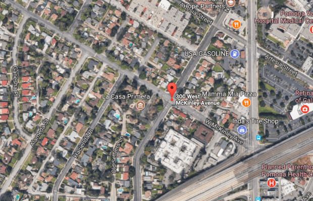 Pomona police arrested a Los Angeles man after they say he forced a woman into his car at gunpoint. (Googlemaps)