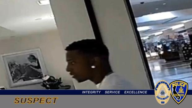 Riverside police say this man, seen on surveillance video at the Zales Jewelers in San Bernardino on Monday, Oct. 9, 2017, then went to Riverside and stole a $14,000 ring from the Zales at the Galleria at Tyler. (Photo courtesy of Riverside Police Department)