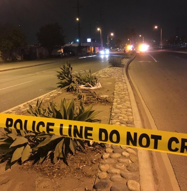 Authorities investigate the scene of an Oct. 19, 2017, shooting that left a man dead in the 1600 block of Arrow Highway in Irwindale. (Courtesy, Irwindale Police Department)