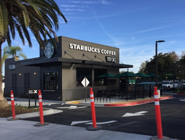 The new Starbucks drive-thru, on the corner of El Toro Road and Moulton Parkway, is the coffee chain's third location in Laguna Woods. (Photo by Emily Rasmussen, contributing photographer)
