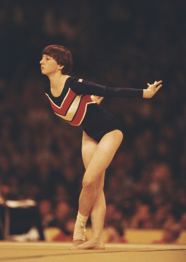 Marcia Frederick of the United States performs during the Women's Floor exercise event on 25th October 1978 during the World Artistic Gymnastics Championships in Strasbourg, France.  (Photo by Tony Duffy/Getty Images)